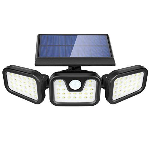 Solarlampen für Außen mit Bewegungsmelder, ZOYJITU 74 LED Strahler Außen Superhelle Solarleuchten für Außen LED IP65 Wasserdichte 3 Modi 360° Drehbare Solar Außenwandleuchten Aussenleuchte
