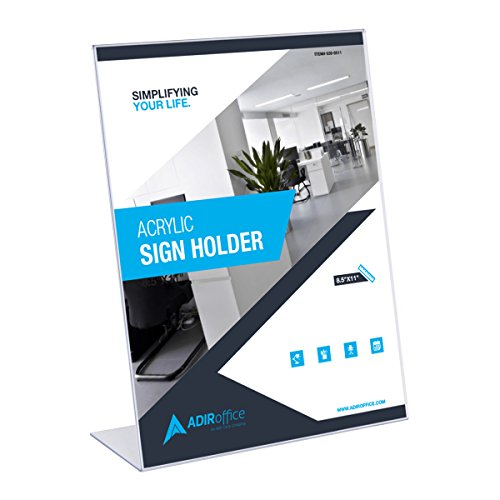 "Adir Plexi Acrylic Sign Holder 8.5"" X 11"" - Shatter Resistant Acrylic Sign Holder - Great for Brochures, Advertising Pamphlets and Restaurant Menus - Pack of 6"