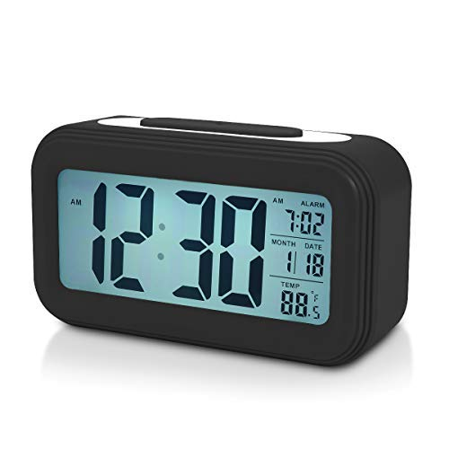 Battery Digital Alarm Clock for Bedroom, 4.5' LCD Display Bedside Alarm Clock with Snooze, Backlight, Night Light, Date and Temperature, Sleep Timer for for Heavy Sleepers, Elderly, Teens(Black)