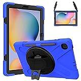 Gerutek Funda Anticaída para Samsung Galaxy Tab S6 Lite 10.4' (SM-P610/SM-P615), Carcasa Rugosa con Soporte Rotación, Correa de Mano/Hombro, Funda Antichoque para Samsung Tab S6 Lite 10.4', Azul