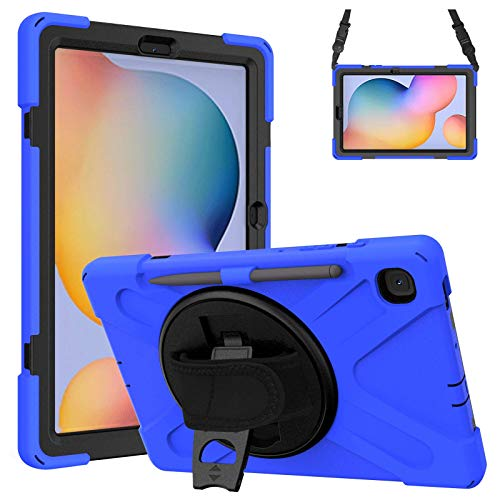 Gerutek Shockproof Case for Samsung Galaxy Tab S6 Lite 10.4 inch 2020, Heavy Duty Rugged Case with 360 Rotating stand/Hand Strap and Pencil Holder Protective Case for GalaxyTab S6 Lite Tablet,Blue