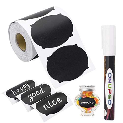 ONUPGO Etiquetas de pizarrón, 180 pegatinas impermeables reutilizables con 1 marcador de tiza líquida para tarros de masón, decoración de fiestas, salas de manualidades, bodas