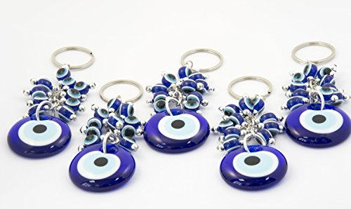 Set of 5 Evil Eye Keychain, Evil Eye Keyring Set, Glass Lucky Eyes Charm, Blue Evil Eye Beads Keychain, Turkish Nazar Amulet, Gift for Her/His, Best Friend Gift