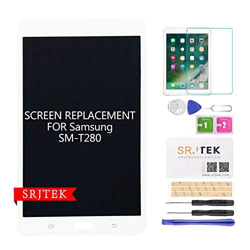 srjtek Schermo di Ricambio per Samsung Galaxy SM-T280 LCD Display Touch Digitizer Panel Compatibile per Tab A 7.0 WiFi Tablet (Non per Versione 3G & T285 & Senza Foro Auricolare) (Bianco)