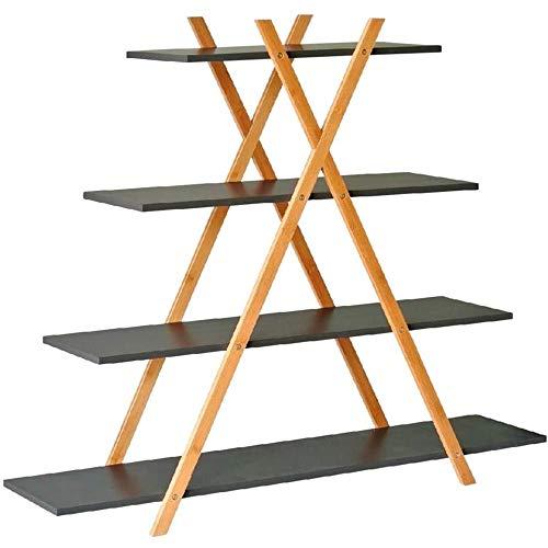 BAKAJI Libreria Design Moderno a Piramide Scaffale 4 Ripiani in Legno MDF e Struttura in Legno di Bambu Scaffalatura per Casa Ufficio Dimensione 125 x 103 x 30 cm (Grigio)