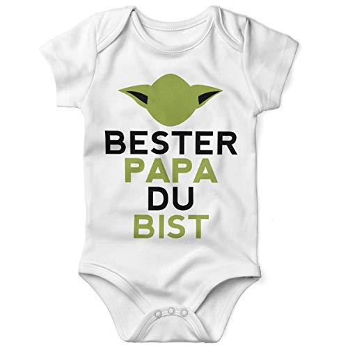 Mikalino Babybody mit Spruch für Jungen Mädchen Unisex Kurzarm Bester Papa Du bist | handbedruckt in Deutschland | Handmade with Love, Farbe:Weiss, Grösse:56