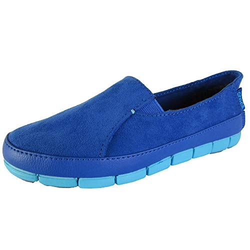 Crocs Womens Stretch Sole Microsuede Loafers, Cerulean Blue/Electric Blue, US 6