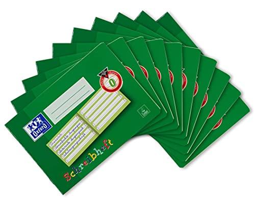 Oxford Schreibheft, 10er Pack, DIN A5 quer, Lin. 0 (1. Klasse), 16 Blatt, grün