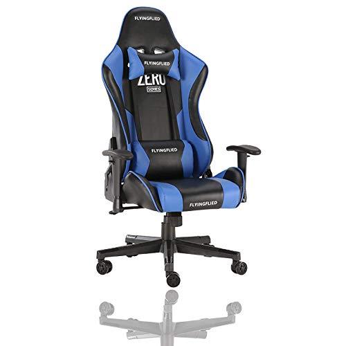 KAYBELE Silla de Juego, sillas de Videojuegos giratorios ergonómicos, sillas de reposabrazos Ajustables, Silla de Oficina de Respaldo Alto con Modo Mecedora y reposacabezas y Soporte Lumbar