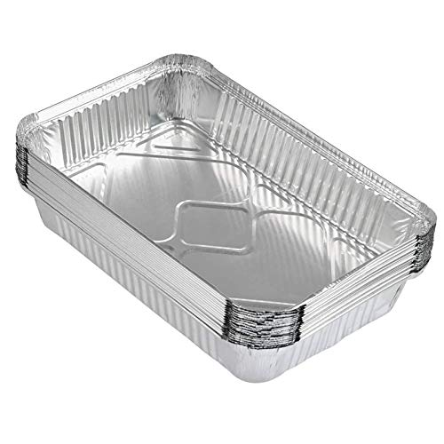 20 Piezas Desechables Bandeja de Aluminio Bandejas De Papel Aluminio Para Hornear Bandeja de Goteo para Barbacoa Bandeja Rectangular de Aluminio para Cocinar Congelar y Almacenar Recipientes
