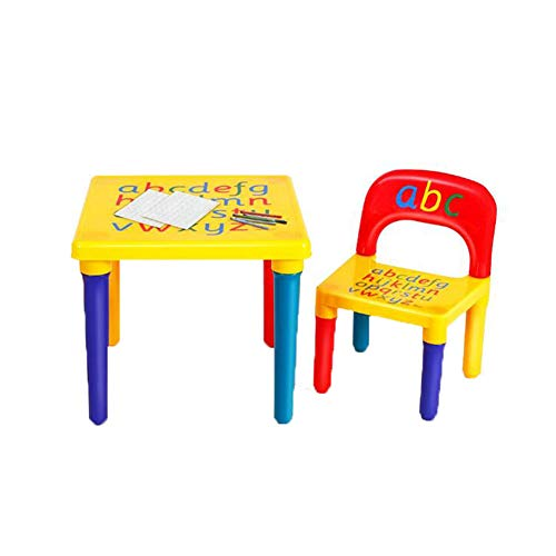 Zhenwo 3 Piece Set Child's Furniture/Chair/Table/Table/Children's Table with 2 Chairs/Child Seat Set/Coloured,A