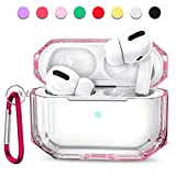 MioHHR Case for AirPods Pro, 360° Full Protective Dustproof TPU Clear Cute AirPods Case Cover for Apple AirPod 3 2020 Cases for Girls with Keychain Strap Multi Color for Women and Men (Pink)