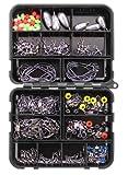 Kit de accesorios de pesca,Anzuelos de Pesca,Kit de Caja de Aparejos de Pesca,160 pcs Pesca Set,con caja de aparejos portátil,para la Pesca de Agua Dulce y Salada