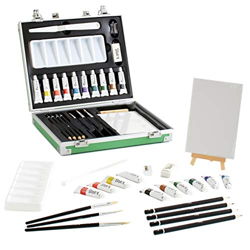 All in One, Travel-Friendly, 25-pc Oil Painting Art Set. Incl. Paints, Brushes, Tabletop Easel, Palette and Accessories in Sturdy Carrying Case. Great for Adults, Teens, Kids Ages 10 and Up for Xmas
