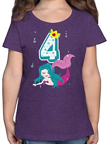 Geburtstag Kind - Meerjungfrau 4. Geburtstag - 116 (5/6 Jahre) - Lila Meliert - Geburtstag Tshirt 4 meerjungfrau - F131K - Mädchen Kinder T-Shirt