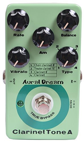 Aural Dream Clarinet Tone A Synthesizer Guitar Effects Pedal includes choir clarinet 8',clarinet 8',theater clarinet 16'and clarinet with Vibrato and Swell module based on Organ,True bypass.