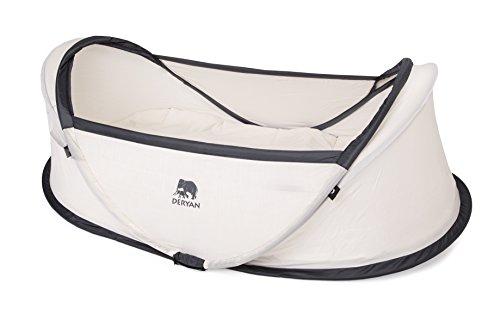 DERYAN Travel Cot Reisebett - Infant Baby - Pop up - Leicht, Kompakt und Faltbar - Aufgeklappt in nur 2 Sekunden - Mit Moskitonetz und Tragetasche - Cream