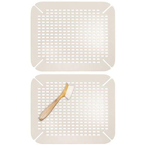mDesign Juego de 2 escurreplatos adaptables para cocina – Protector de fregadero grande de plástico sin BPA – Práctica alfombrilla protectora de platos y vasos con diseño de rejilla – beis