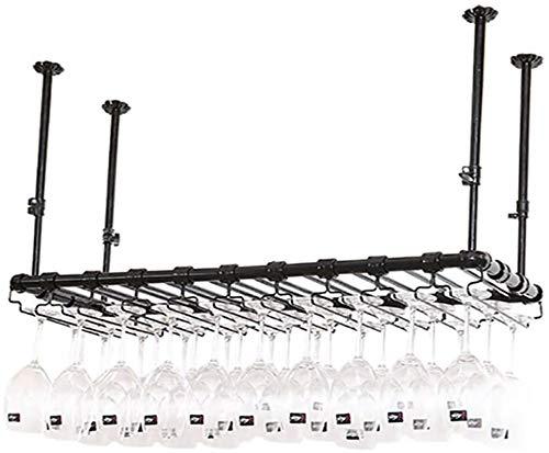 TUHFG Soporte para copas de vino tinto para colgar en el techo, para colgar en el hogar, de hierro forjado, de color negro, 80 x 35 cm
