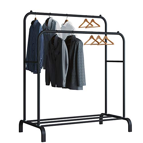 UDEAR Garment Rack Freestanding Hanger Double Rods Multi-Functional Bedroom Clothing Rack, Black