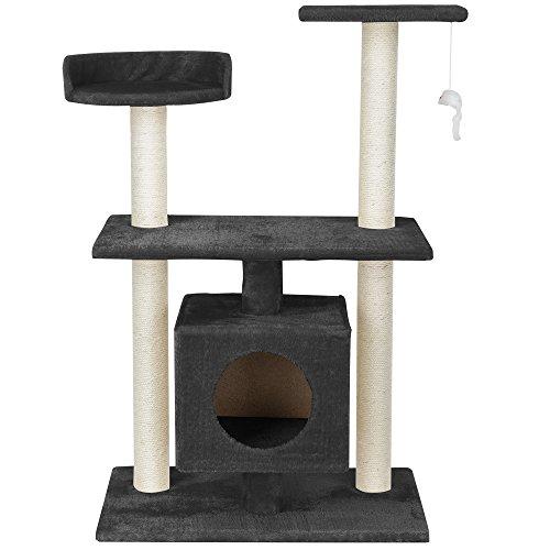 [en.casa] Katzen Kratzbaum (ca. 60 x 40 x 95 cm)(grau) Kuschelhöhlen / Aussichtsplatformen / Sisal / mit vielen Spiel – und Kuschelmöglichkeiten - 3