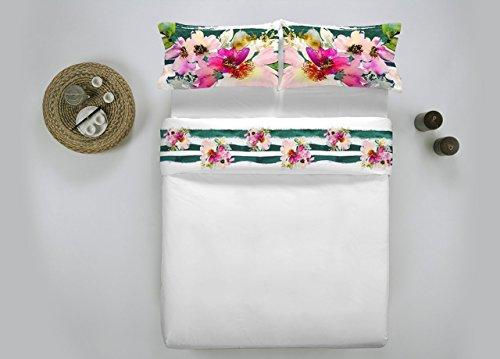 Offre : Parure de lit (deux places) fleurs Riga Vert en impression numérique de haute qualité – Fabriqué en Italie -