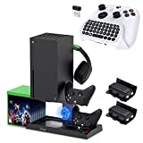 Cooling Stand with Mini Keyboard Chatpad for Xbox Series X, YUANHOT Charging Station Dock with 1400mAh Rechargeable Battery Pack, Dual Controller Charger Ports, Cooler System