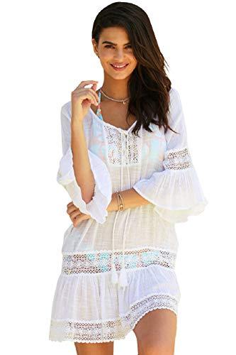 Tuopuda Bikini Cover Up Damen Bikini-Bluse Strand Bluse Lose Mäntel Tunika Outwear Sommer Kleid Strandkleid Lange Ärmel Langes Shirt (Weiß)