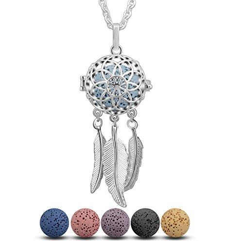 INFUSEU Collar de Mujer Dream Catcher Colgante de Plumas, aromaterapia Aceite Esencial difusor Colgante Perfume medallón con 5 Piezas de Piedras de Lava + Cadena 24'