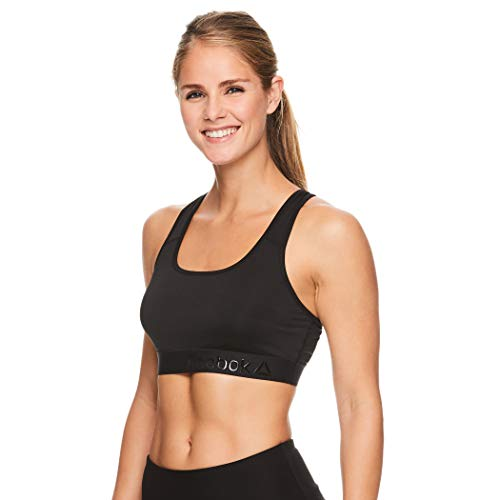 Reebok Women's Wireless Racerback Sports Bra - Medium Impact Athletic Active Fitness & Gym Bralette w/Keyhole Cutout - Cardio 2.0 Black, X-Small