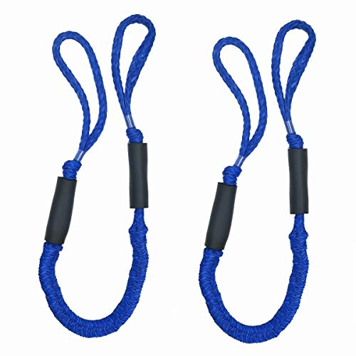ABeauty Bungee Dock Line Dockline Mooring Rope Bungee Cord for Boats Kayak Marine PWC Stretch 3.5-5.5ft (Blue) 2 Pack
