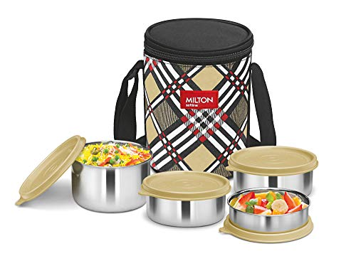 Milton Smart Meal Insulated Lunch Box, Set of 4, Yellow Stainless Steel