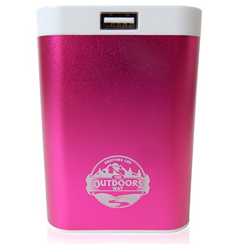 The Outdoors Way Electric Hand Warmer, Rechargeable Accessory for Hunting and Winter Sports. Handwarmer Includes Phone Charger + LED Flashlight + Carry Pouch + 2 Colors Options.