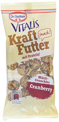 Dr. Oetker Vitalis Kraftfutter Cranberry, Pausen Snack und Fingerfood mit Protein und süßen Müsli Crunches und angenehm spritzigen Fruchtgeschmack, 7er Pack (7 x 45 g)