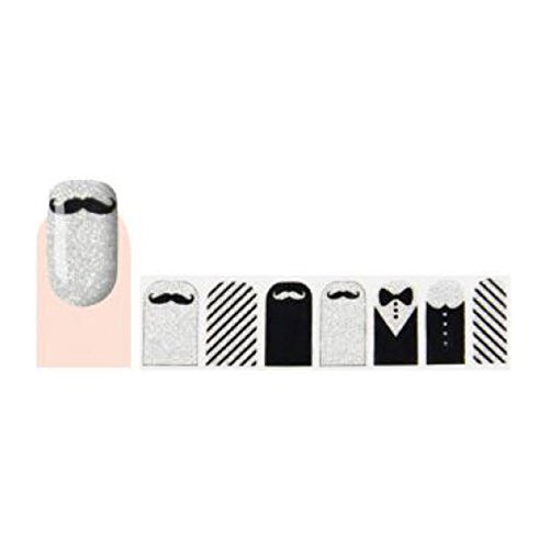 GLAM UP - Stickers Vernis Adhésifs ongles - Moustache Noeud Noir Blanc