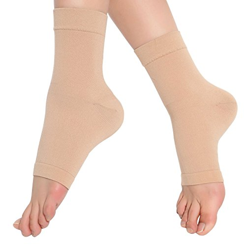 SPOTBRACE Medical Compression Breathable Ankle Brace, Elastic Thin Ankle Support, Pain Relief Ankle Sleeve for Unisex Ankle Swelling, Achilles Tendonitis, Plantar Fasciitis and Sprained - Nude,1 Pair
