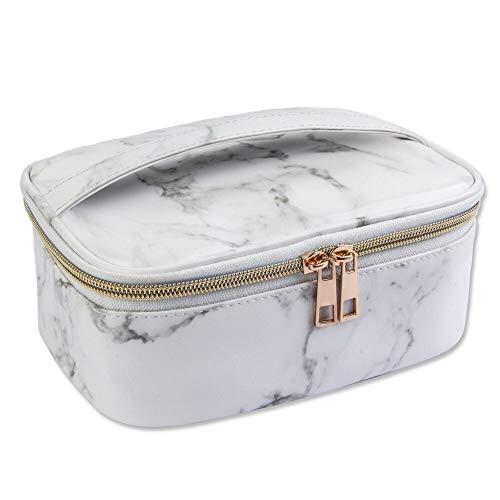Magefy make-up tas marmer make-up tas draagbare reizen make-up tas make-up tas met gouden ritssluiting toilettas voor vrouwen (20,2 x 14,5 x 8,3 cm)