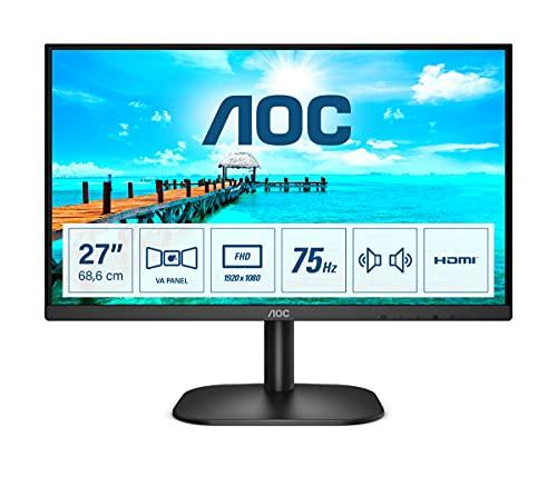 """AOC 27B2AM - Monitor FHD da 27"""" (1920 x 1080, 75 Hz, VGA, HDMI), colore: Nero"""