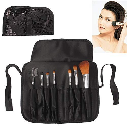 Zhaodong Trousse de sac cosmétique durable de style de paillettes pliable manuel de style Set 7pcs brosses produit de soin du visage (noir) Zhaodong (Color : Black)