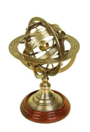 MALLA INC. 6' Brass Armillary Sphere Globe Clock Spherical Astrolabe Vintage Compass - Nautical Decor