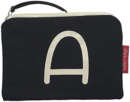 Hello-Bags - Monedero de Algodón con Cremallera, 14 cm, Negro
