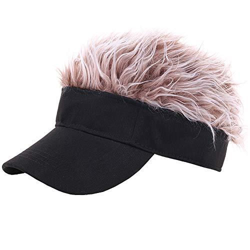 oaesc Novelty Hair Visor Cap with Flair Spiked Hair Wig Peaked Adjustable Baseball Hat Fake Hair Black/Brown