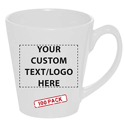 Personalized Glossy Molded Ceramic Latte Coffee Mug with Handle 12 Oz Set of 100 - Custom Text, Logo - Perfect for Tea, Cappuccino, Hot Cocoa - White