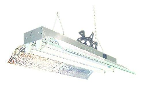 T5 HO Grow Light (2 FT 2 Lamps) DL822 Fluorescent Hydroponic Fixture Bloom Veg Grow Light System 6500k bulbs