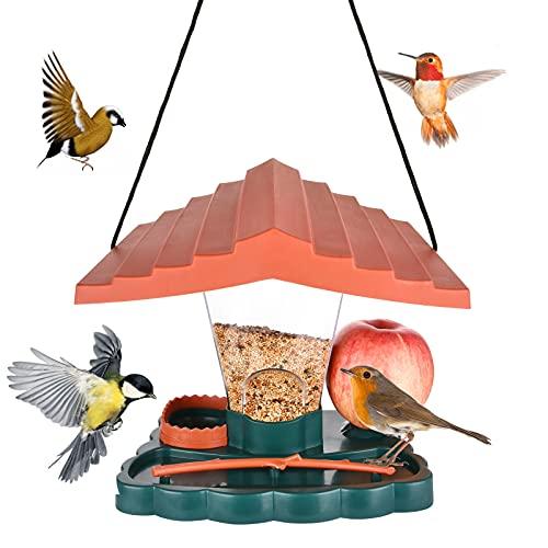 NUZEKY Vogelfutterspender Wildvögel – Futterhaus für vögel Hängend Futterhaus Wetterfest Grosse Kapazität Futterstationen - Vogelhaus Aufhängen im Garten und Balkon