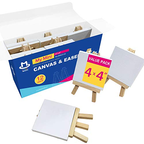 COLOR MAGIC Mini Stretched Canvas with Easel - 4x4 Inch/12 Pack - 2/5 Inch Profile Mini Canvas and Easel Set, Best For Kids