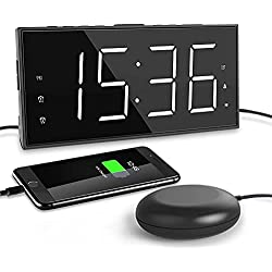 Super Loud Alarm Clock for Heavy Sleepers Dual Digital Alarm Clock with Bed Shaker 7.5 Dimmer Large LED Display Vibrating Alarm Clock for Hearing Impaired, Deaf with USB Charger,Snooze,Battery Backup