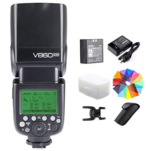 Godox V860II-N Kit I-TTL GN60 2.4G HSS 1/8000s Li-ion Battery Camera Flash Speedlite Light for Nikon D800 D700 D7100 D5200 D300 D300S D3200 D3100 D200 D70S D810 D610 D90 D750 & Diffuser (V860II-N)