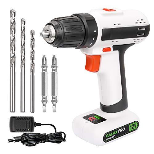 GALAX PRO Drill Driver, Lightweight 12V 2 Speed Cordless Drill, Maximum Torque 25 N.M, 3/8 Inch Keyless Chuck, Streamlined Design, with 6 Accessories