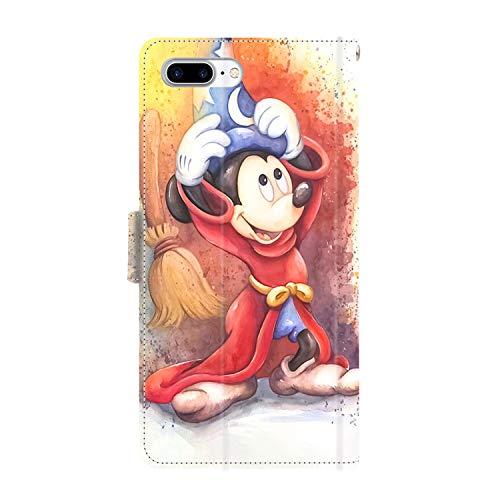 DISNEY COLLECTION Funda tipo cartera para iPhone 7/8 Plus, de piel sintética, diseño de Mickey Mouse con correa de mano, soporte para tarjetas de crédito, para mujeres y niñas